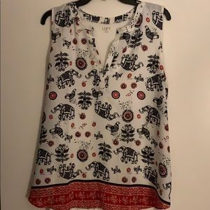 LOFT tank top with elephants